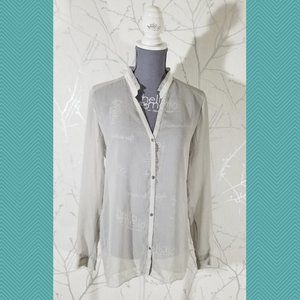 Helmut Lang Gray Sage Sheer Button Front Blouse